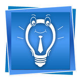 Blue Idea. A smiling idea bulb on a blue background vector illustration