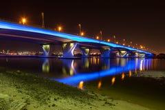 Blue illuminated Bridge in Dubai Royalty Free Stock Photo