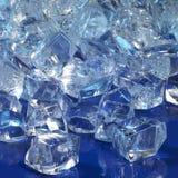 Blue illuminated ice cubes Stock Images