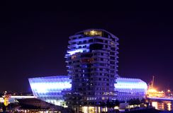 Blue illuminated industry at night Royalty Free Stock Image