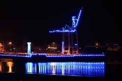 Blue illuminated industry at night Stock Photos