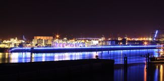 Blue illuminated industry at night Stock Image