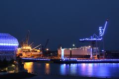 Blue illuminated industry at night Stock Images