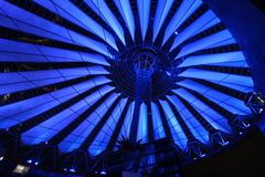 Blue illumination of Sony center roof at night. Blue illumination of Sony center roof by night Stock Images