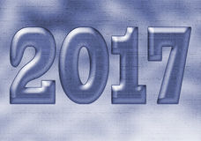 Blue Illustration of New Year 2017 Design. Illustration - 2017 Design with filters and blue tint created in an editing program Royalty Free Stock Image