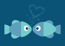 Blue illustration of two fish in love and heart Royalty Free Stock Images
