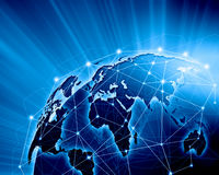 Blue image of globe. Blue vivid image of globe. Globalization concept stock image