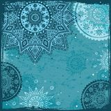 Blue Indian ethnic ornament royalty free stock photo