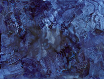 Blue Indigo Cracked Abstract Background - Ink on paper Royalty Free Stock Photo