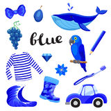 Blue or Indigo. Learn the color. Education set. Illustration of primary colors. Stock Photography