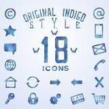 Blue indigo watercolor icons Royalty Free Stock Images