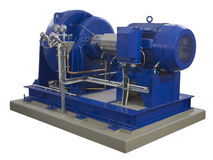 Blue industrial compressor on white Stock Photography