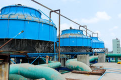 Blue industrial cooling towers in thailand Royalty Free Stock Photo