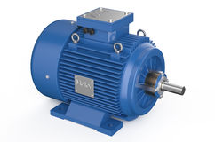 Blue industrial electric motor Royalty Free Stock Image