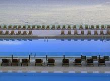 Blue infinity pools sunset stock photo