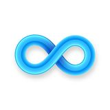 Blue infinity symbol icon from glossy wire with Stock Photography