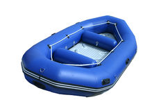 Blue inflatable boat Stock Images