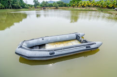 Blue inflatable boat Royalty Free Stock Photos
