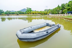 Blue inflatable boat Stock Photography