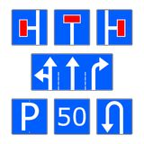 Blue info road sign vector set royalty free illustration