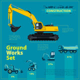 Blue infographic big set of ground works blue machines vehicles. Catalog page. Royalty Free Stock Image