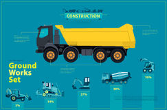 Blue infographic big set of ground works blue machines vehicles. Royalty Free Stock Photography