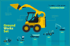 Blue infographic big set of ground works blue machines vehicles. Stock Photo