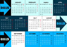 Blue infographic calendar 2015 with arrows. And quarter color coding vector illustration
