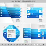Blue infographics banners 2. A Blue set for abstract overlapping infographics banners Royalty Free Stock Photo