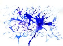 Blue Ink Blot. Abstract blue dried ink splashes or inkblots on white paper Royalty Free Stock Photo