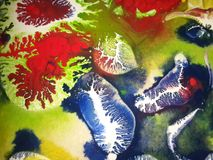 Blue ink on painting. Blue ink blots on colourful painting stock photography