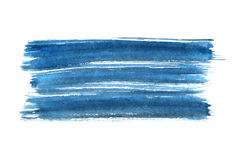 Blue ink brush stroke. On the white background - space for text Stock Images