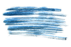 Blue ink brush strokes. Isolated on the white background Stock Images