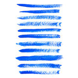 Blue ink  brush strokes Royalty Free Stock Photography