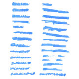 Blue ink brushes Royalty Free Stock Images