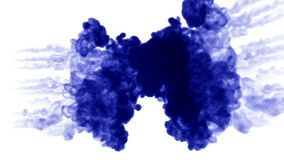 Blue ink dissolves in water on white background with luma matte. 3d render of computer simulation. a lot of ink volleys. Ink dissolves in water on white vector illustration