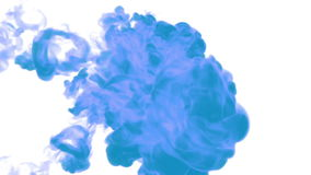 Blue ink drop in water on a white background for effects. 3d render. voxel graphics. computer simulation 36. Full hd. for motion designer stock video footage