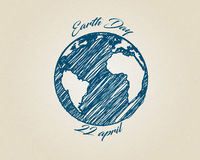 Blue ink sketch vector world globe planet with text around. Earth day drawing on recycling carton. Blue ink ketch vector world globe planet on recycling carton Royalty Free Stock Photo