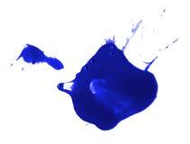 Blue ink splash liquid splattered inkblot drop Royalty Free Stock Photos