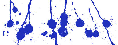 Blue ink splash. Paint splatter. Blue blots on white. Ink stains Stock Photography