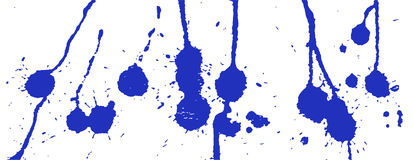 Blue ink splash, stains, strokes and blots on white. Paint Splatter background. Stock Images