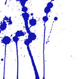 Blue ink splash, stains, strokes and blots on white. Paint Splatter background. Stock Image