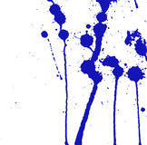 Blue ink splash, stains, strokes and blots on white. Paint Splatter background. Stock Photo