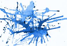 Blue Ink Splat. Splashes of blue ink on white - some drops still wet Royalty Free Stock Photos