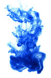 Blue ink in water on  white background Royalty Free Stock Photo
