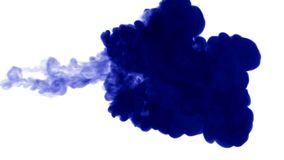 Blue ink on white background. 3d render, with luma matte. many ink injections 9