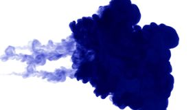 Blue ink on white background. 3d render, with luma matte. many ink injections 4