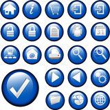 Blue Inset Button Icons set collection Stock Images