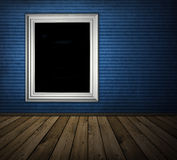 Blue interior. Vintage blue interior with wooden floor Royalty Free Stock Photo