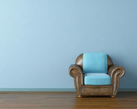 Blue interior with couch Royalty Free Stock Images